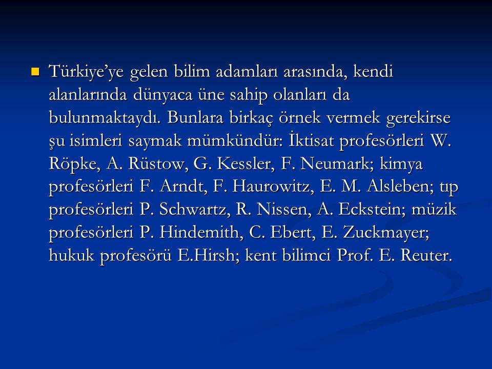 Türkiye'ye gelen bilim adamları arasında, kendi alanlarında dünyaca üne sahip olanları da bulunmaktaydı. Bunlara birkaç örnek vermek gerekirse şu isim