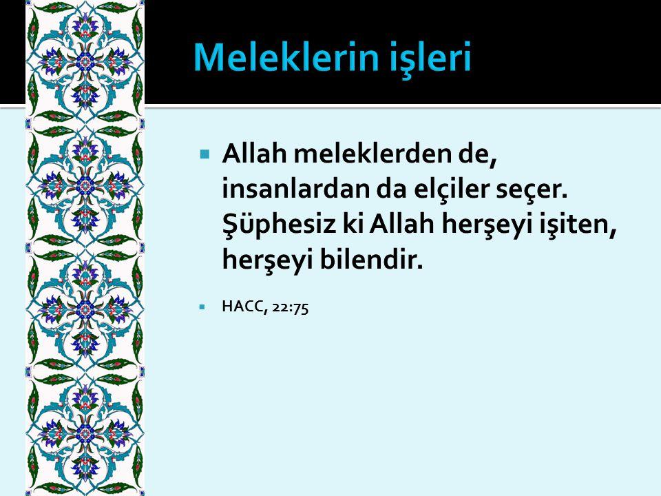  Allah meleklerden de, insanlardan da elçiler seçer. Şüphesiz ki Allah herşeyi işiten, herşeyi bilendir.  HACC, 22:75