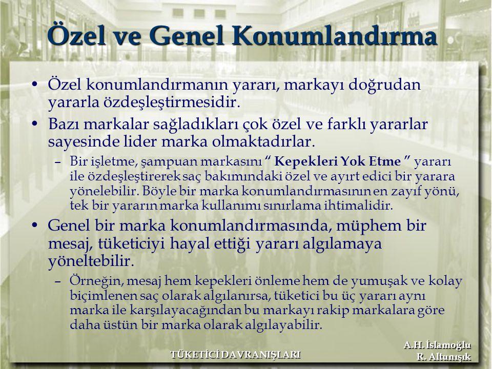 A.H. İslamoğlu R. Altunışık TÜKETİCİ DAVRANIŞLARI Özel ve Genel Konumlandırma Özel konumlandırmanın yararı, markayı doğrudan yararla özdeşleştirmesidi