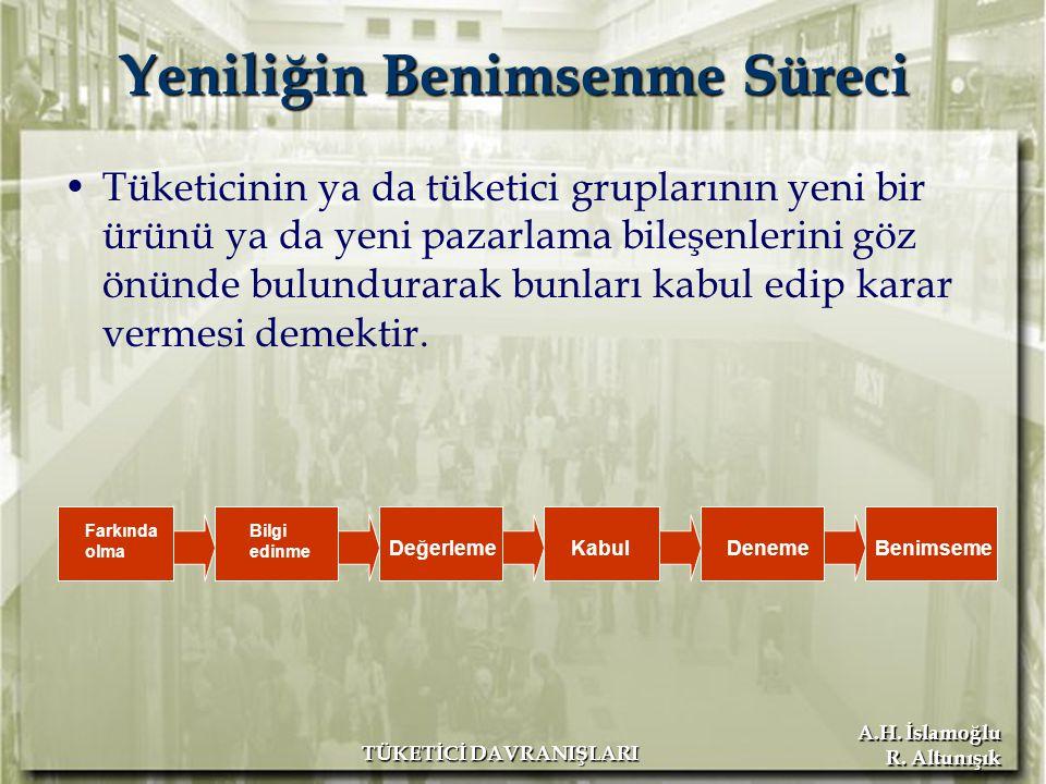 A.H. İslamoğlu R. Altunışık TÜKETİCİ DAVRANIŞLARI Yeniliğin Benimsenme Süreci Tüketicinin ya da tüketici gruplarının yeni bir ürünü ya da yeni pazarla