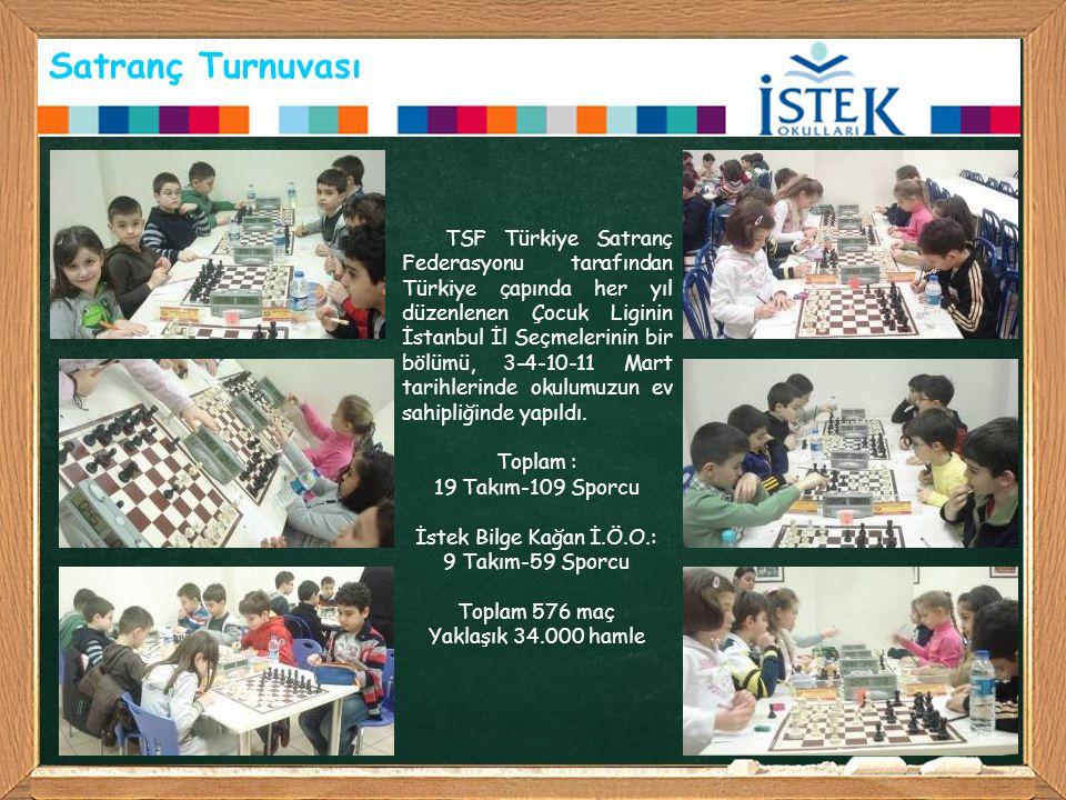 Satranç Turnuvası TSF Türkiye Satranç Federasyonu tarafından Türkiye çapında her yıl düzenlenen Çocuk Liginin İstanbul İl Seçmelerinin bir bölümü, 3-4-10-11 Mart tarihlerinde okulumuzun ev sahipliğinde yapıldı.