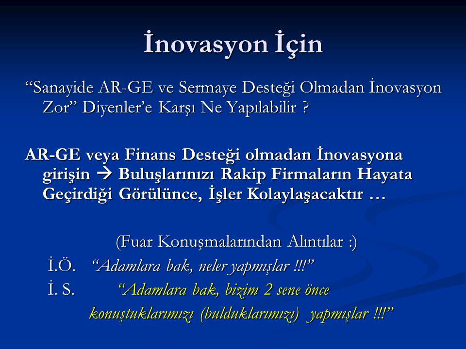 İnovasyon İçin Sanayide AR-GE ve Sermaye Desteği Olmadan İnovasyon Zor Diyenler'e Karşı Ne Yapılabilir .