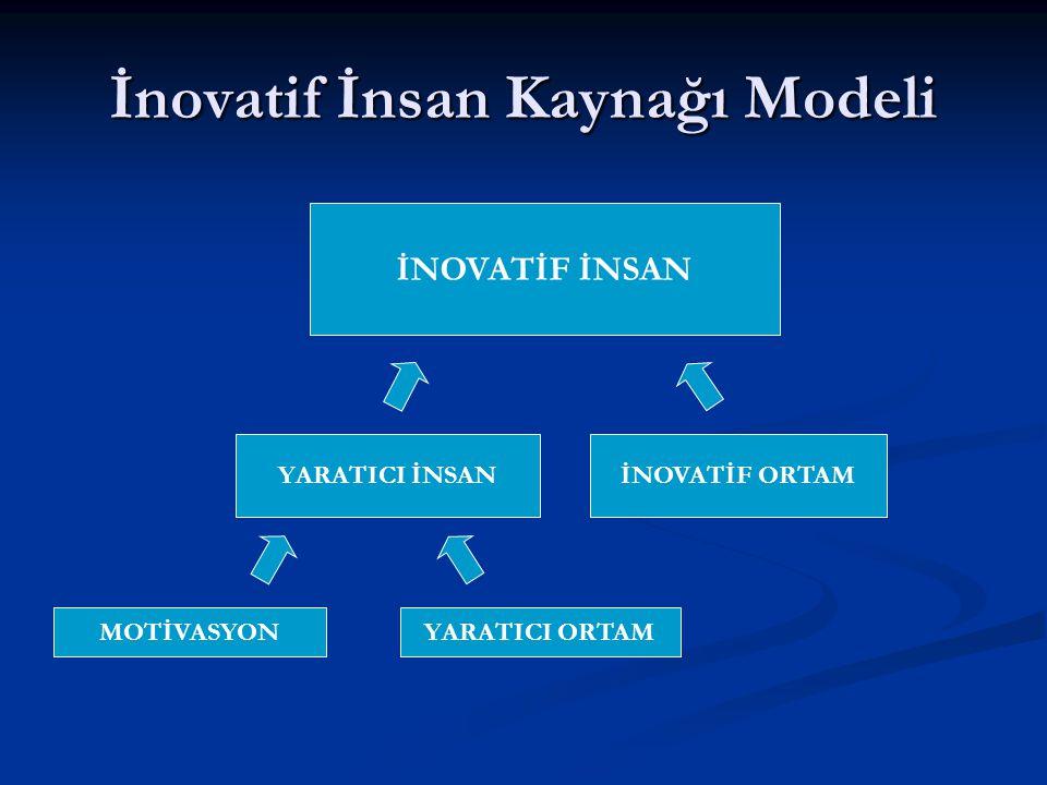 İnovatif İnsan Kaynağı Modeli İNOVATİF İNSAN YARATICI İNSANİNOVATİF ORTAM MOTİVASYONYARATICI ORTAM