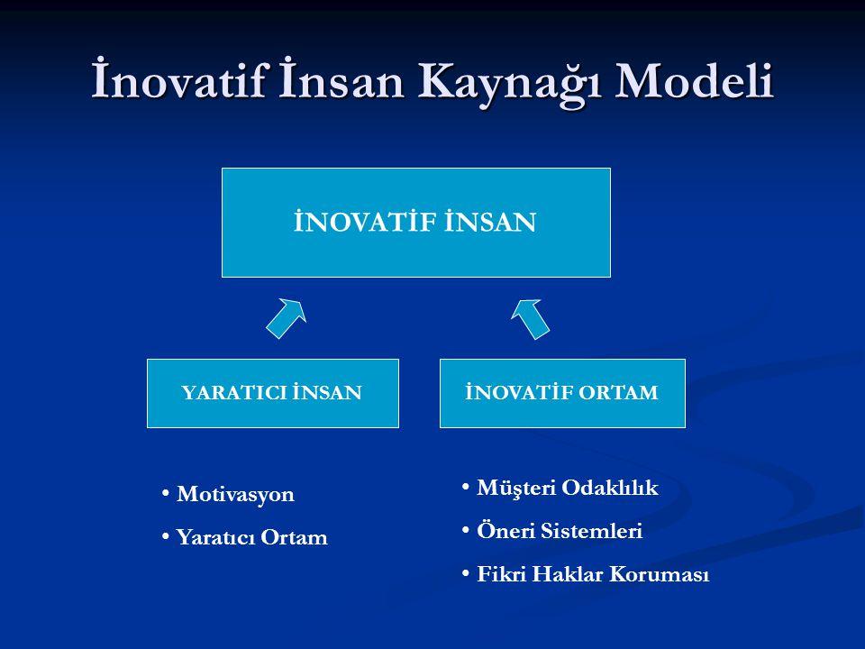 İnovatif İnsan Kaynağı Modeli İNOVATİF İNSAN YARATICI İNSANİNOVATİF ORTAM Motivasyon Yaratıcı Ortam Müşteri Odaklılık Öneri Sistemleri Fikri Haklar Koruması