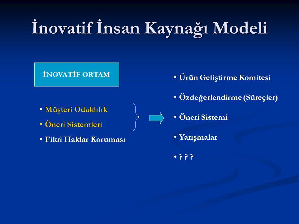 İnovatif İnsan Kaynağı Modeli İNOVATİF ORTAM Müşteri Odaklılık Öneri Sistemleri Fikri Haklar Koruması Ürün Geliştirme Komitesi Özdeğerlendirme (Süreçler) Öneri Sistemi Yarışmalar .