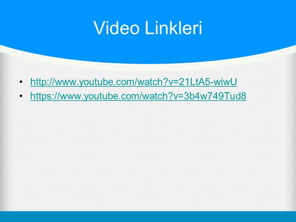 Video Linkleri http://www.youtube.com/watch?v=21LtA5-wiwU https://www.youtube.com/watch?v=3b4w749Tud8
