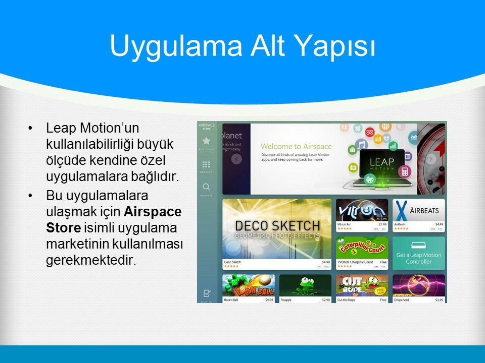 Uygulama Alt Yapısı Leap Motion'un kullanılabilirliği büyük ölçüde kendine özel uygulamalara bağlıdır. Bu uygulamalara ulaşmak için Airspace Store isi