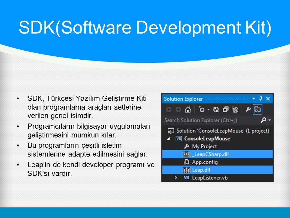 SDK(Software Development Kit) SDK, Türkçesi Yazılım Geliştirme Kiti olan programlama araçları setlerine verilen genel isimdir. Programcıların bilgisay