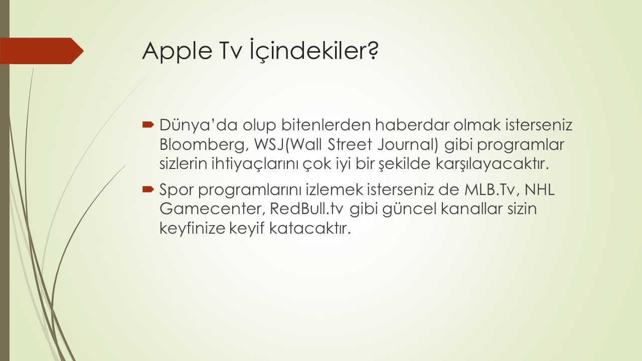 Apple Tv İçindekiler.