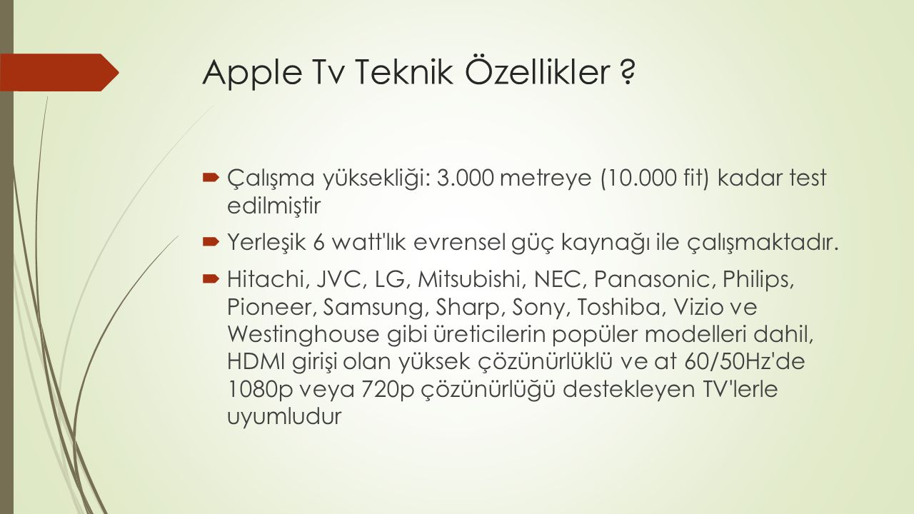Apple Tv Teknik Özellikler .