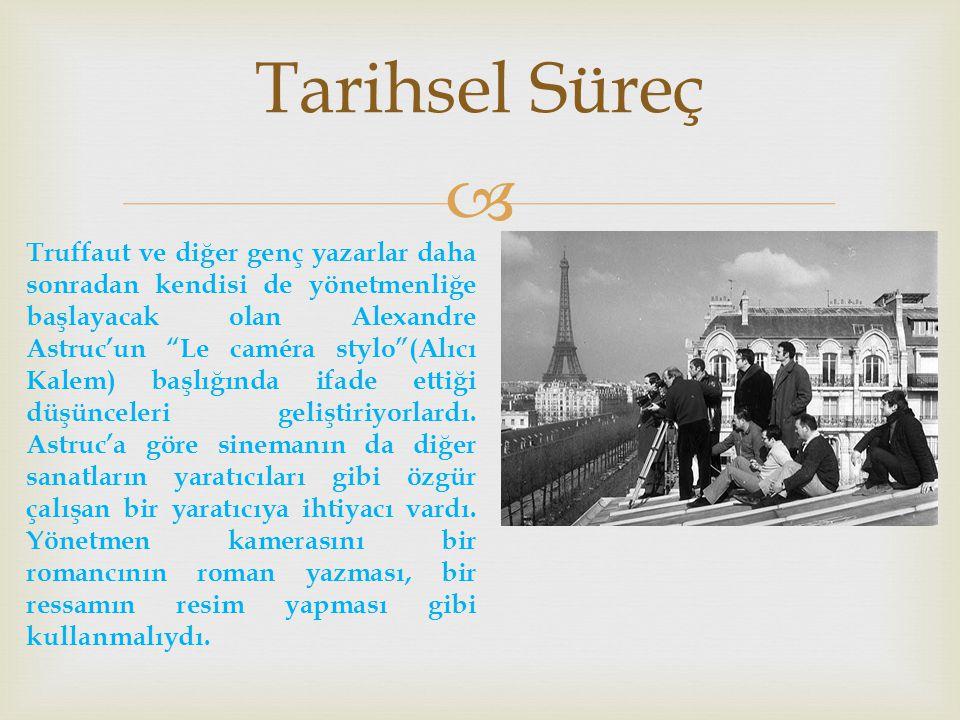  Tarihsel Süreç Truffaut ve diğer genç yazarlar daha sonradan kendisi de yönetmenliğe başlayacak olan Alexandre Astruc'un Le caméra stylo (Alıcı Kalem) başlığında ifade ettiği düşünceleri geliştiriyorlardı.