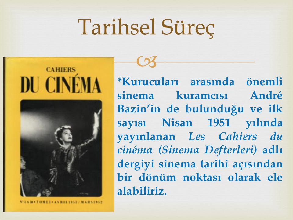  Tarihsel Süreç *Kurucuları arasında önemli sinema kuramcısı André Bazin'in de bulunduğu ve ilk sayısı Nisan 1951 yılında yayınlanan Les Cahiers du cinéma (Sinema Defterleri) adlı dergiyi sinema tarihi açısından bir dönüm noktası olarak ele alabiliriz.