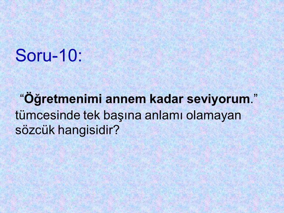 B)Soru-9: Aşağıdaki cümlelerin hangisinde bir varlığın hem rengini hem de sayısını bildiren kelimeler bir arada kullanılmıştır? A) Elindeki kafeste dö