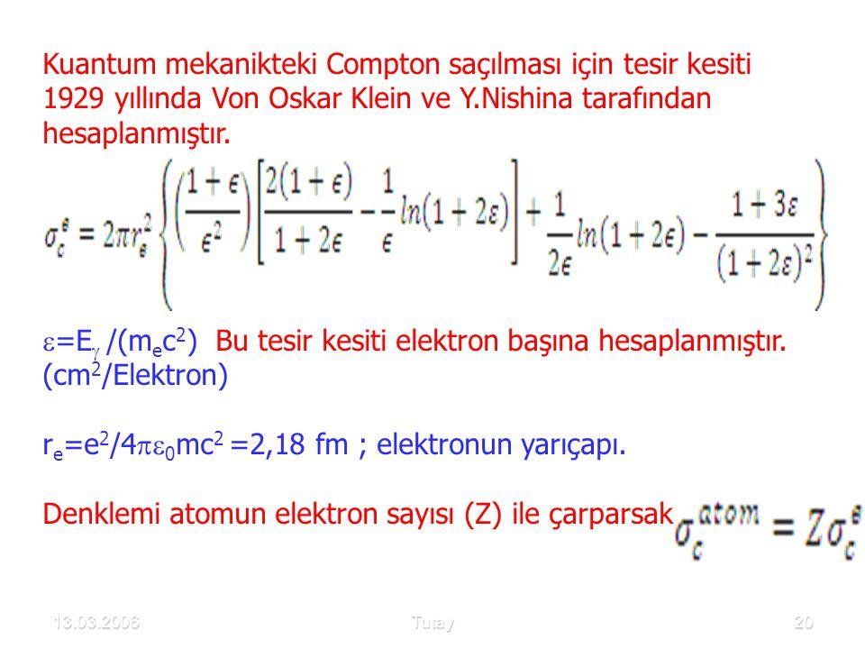 13.03.2006Tutay20 Kuantum mekanikteki Compton saçılması için tesir kesiti 1929 yıllında Von Oskar Klein ve Y.Nishina tarafından hesaplanmıştır.  =E 