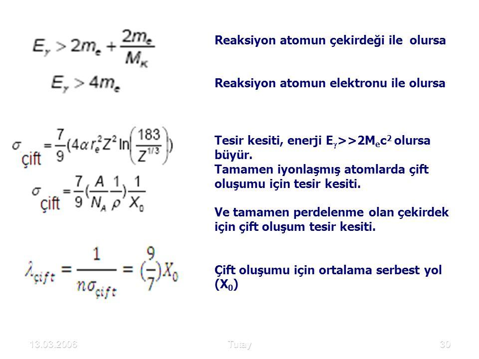 13.03.2006Tutay30 Reaksiyon atomun çekirdeği ile olursa Reaksiyon atomun elektronu ile olursa Tesir kesiti, enerji E  >>2M e c 2 olursa büyür. Tamame