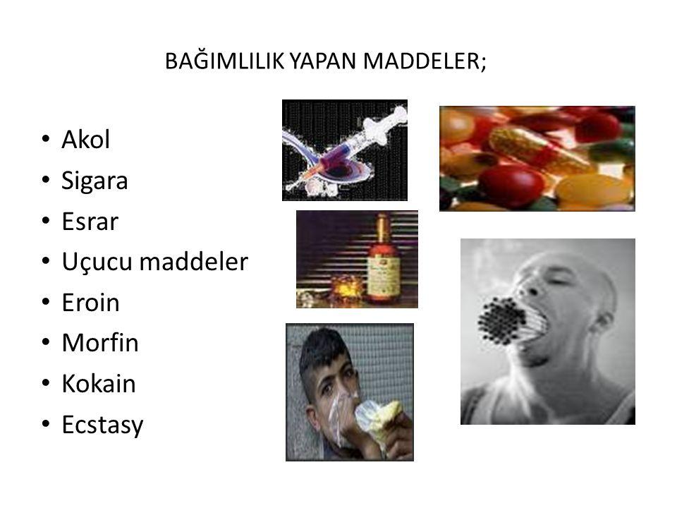 BAĞIMLILIK YAPAN MADDELER; Akol Sigara Esrar Uçucu maddeler Eroin Morfin Kokain Ecstasy