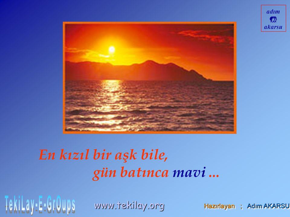 En kızıl bir aşk bile, gün batınca mavi... Hazırlayan ; Adım AKARSU www.tekilay.org