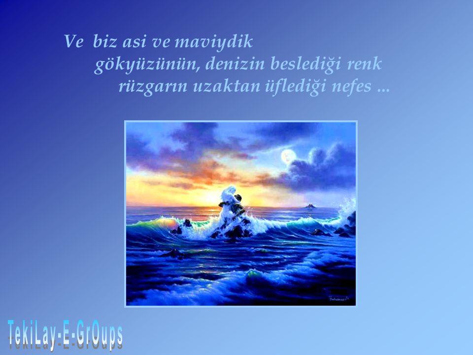 Ve biz asi ve maviydik gökyüzünün, denizin beslediği renk rüzgarın uzaktan üflediği nefes...