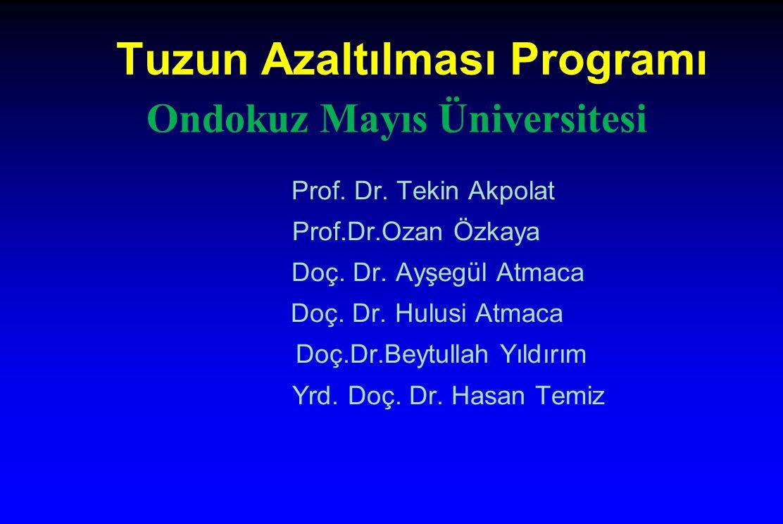 Tuzun Azaltılması Programı Prof. Dr. Tekin Akpolat Prof.Dr.Ozan Özkaya Doç. Dr. Ayşegül Atmaca Doç. Dr. Hulusi Atmaca Doç.Dr.Beytullah Yıldırım Yrd. D