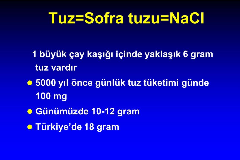 Tuz=Sofra tuzu=NaCl 1 büyük çay kaşığı içinde yaklaşık 6 gram tuz vardır l 5000 yıl önce günlük tuz tüketimi günde 100 mg l Günümüzde 10-12 gram l Tür