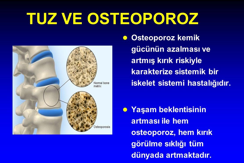 TUZ VE OSTEOPOROZ l Osteoporoz kemik gücünün azalması ve artmış kırık riskiyle karakterize sistemik bir iskelet sistemi hastalığıdır. l Yaşam beklenti