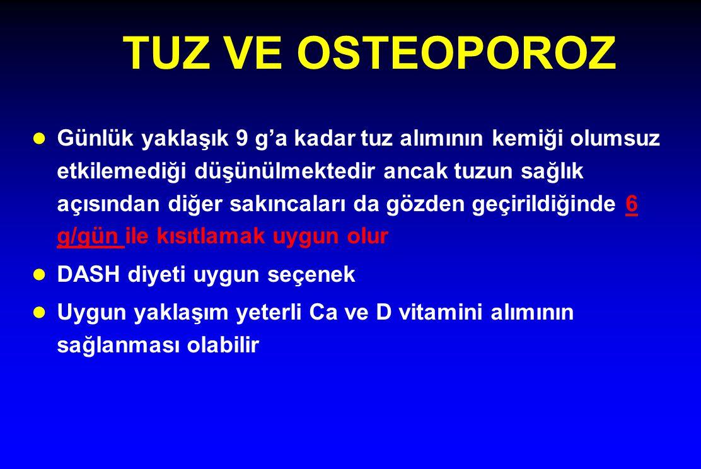TUZ VE OSTEOPOROZ l Günlük yaklaşık 9 g'a kadar tuz alımının kemiği olumsuz etkilemediği düşünülmektedir ancak tuzun sağlık açısından diğer sakıncalar