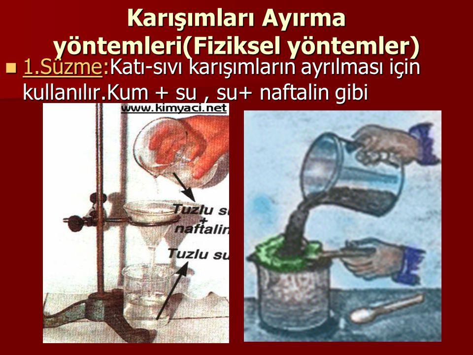 Karışımları Ayırma yöntemleri(Fiziksel yöntemler) 1.Süzme:Katı-sıvı karışımların ayrılması için kullanılır.Kum + su, su+ naftalin gibi 1.Süzme:Katı-sı