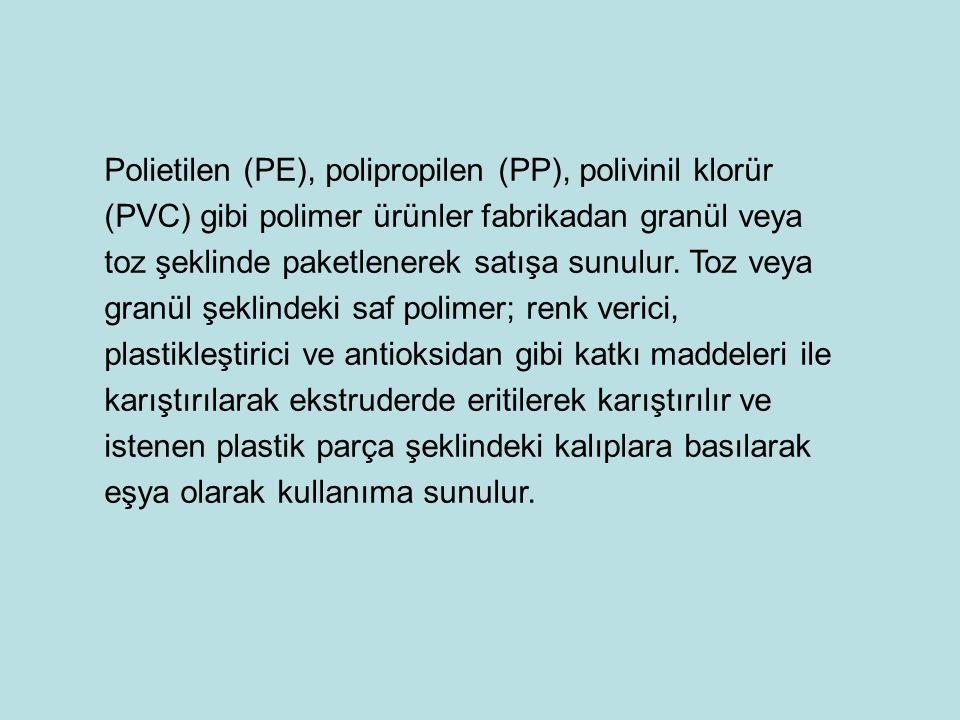 Polietilen (PE), polipropilen (PP), polivinil klorür (PVC) gibi polimer ürünler fabrikadan granül veya toz şeklinde paketlenerek satışa sunulur. Toz v