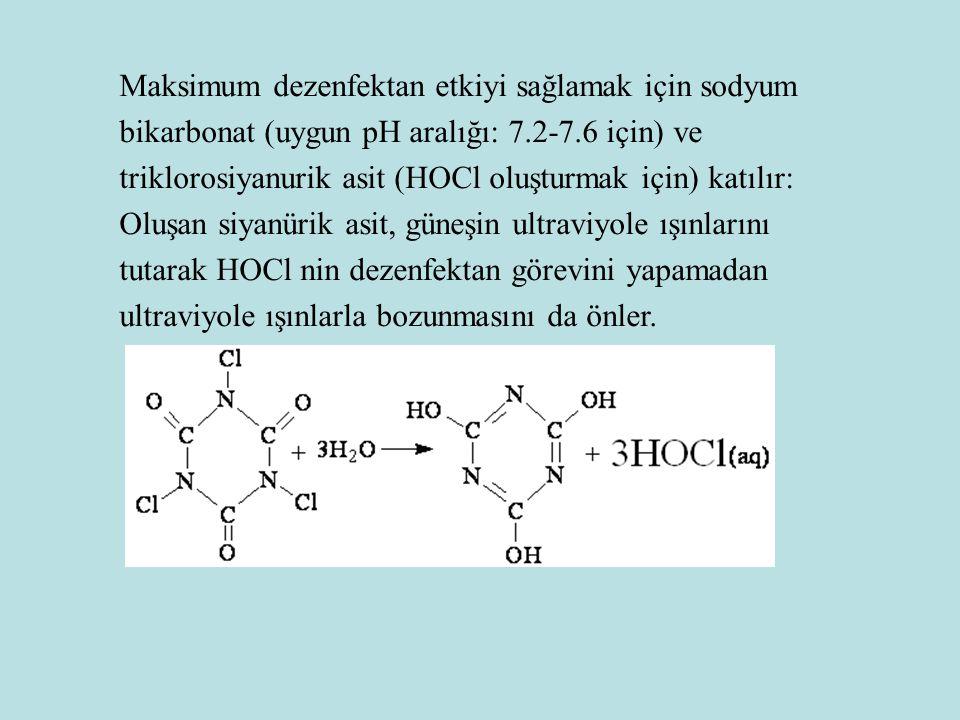 Maksimum dezenfektan etkiyi sağlamak için sodyum bikarbonat (uygun pH aralığı: 7.2-7.6 için) ve triklorosiyanurik asit (HOCl oluşturmak için) katılır: Oluşan siyanürik asit, güneşin ultraviyole ışınlarını tutarak HOCl nin dezenfektan görevini yapamadan ultraviyole ışınlarla bozunmasını da önler.