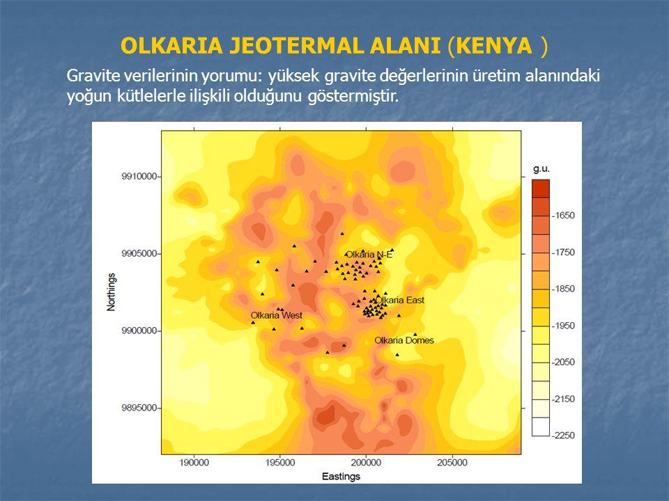 OLKARIA JEOTERMAL ALANI (KENYA ) Gravite verilerinin yorumu: yüksek gravite değerlerinin üretim alanındaki yoğun kütlelerle ilişkili olduğunu göstermi