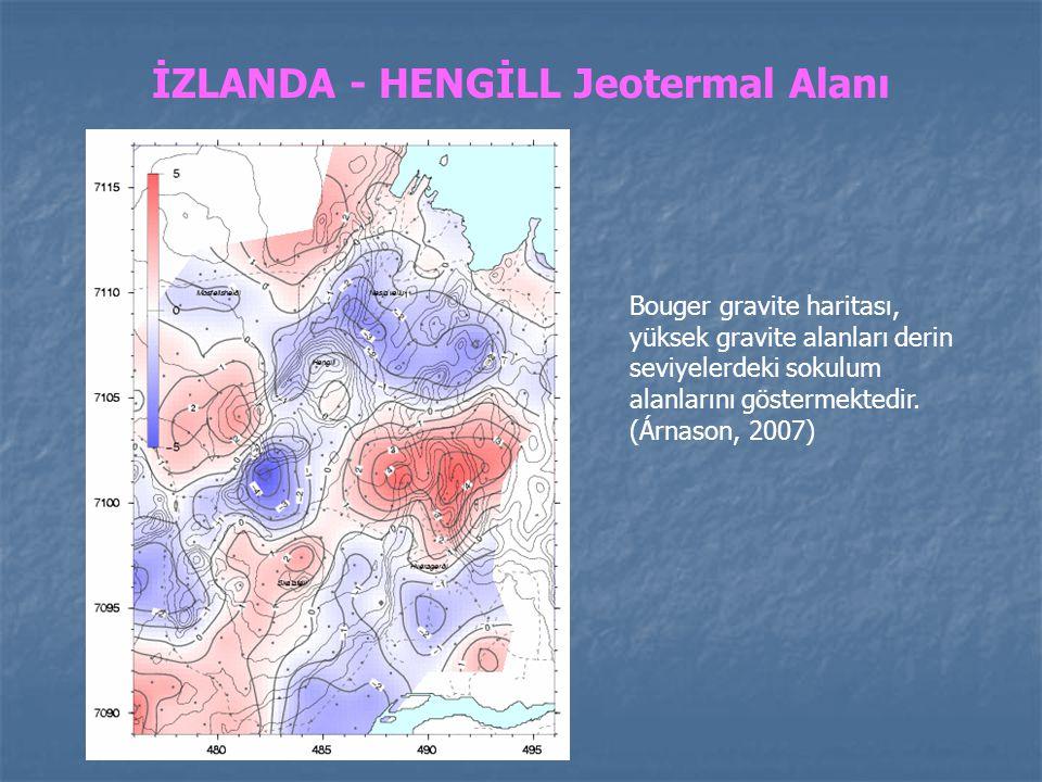 İZLANDA - HENGİLL Jeotermal Alanı Bouger gravite haritası, yüksek gravite alanları derin seviyelerdeki sokulum alanlarını göstermektedir. (Árnason, 20