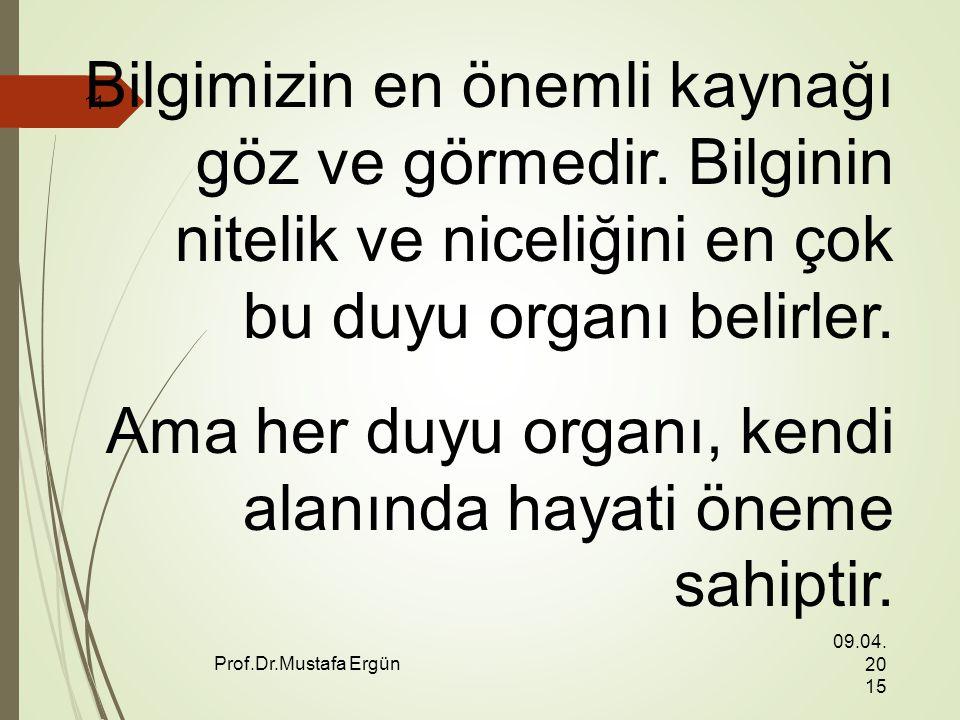09.04.201509.04.201509.04.2015 Prof.Dr.Mustafa Ergün 11 Bilgimizin en önemli kaynağı göz ve görmedir.