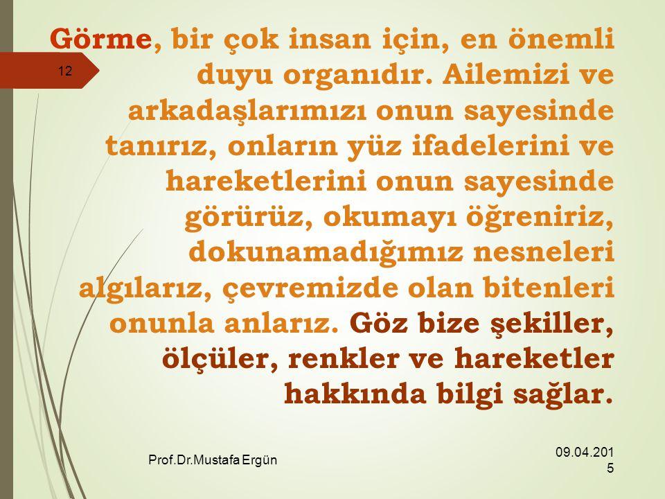09.04.2015 Prof.Dr.Mustafa Ergün 12 Görme, bir çok insan için, en önemli duyu organıdır.