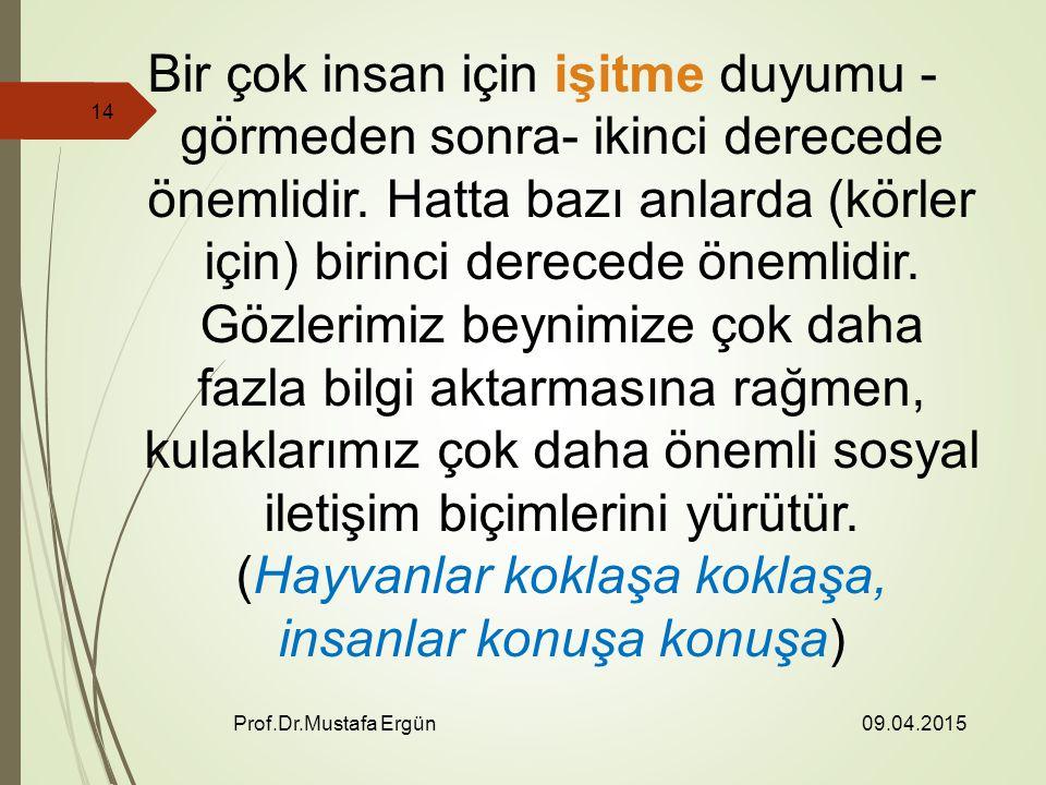 09.04.2015 Prof.Dr.Mustafa Ergün 14 Bir çok insan için işitme duyumu - görmeden sonra- ikinci derecede önemlidir.