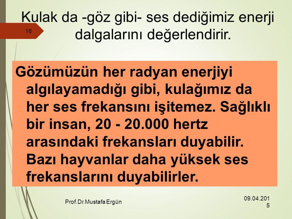 09.04.2015 Prof.Dr.Mustafa Ergün 16 Kulak da -göz gibi- ses dediğimiz enerji dalgalarını değerlendirir.