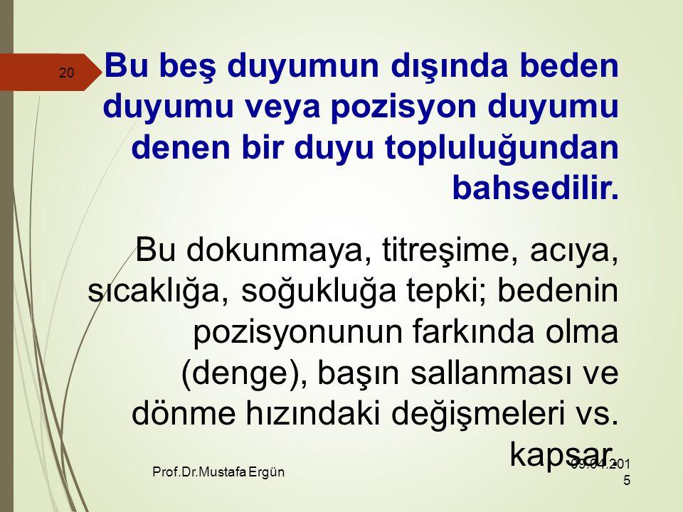 09.04.2015 Prof.Dr.Mustafa Ergün 20 Bu beş duyumun dışında beden duyumu veya pozisyon duyumu denen bir duyu topluluğundan bahsedilir.