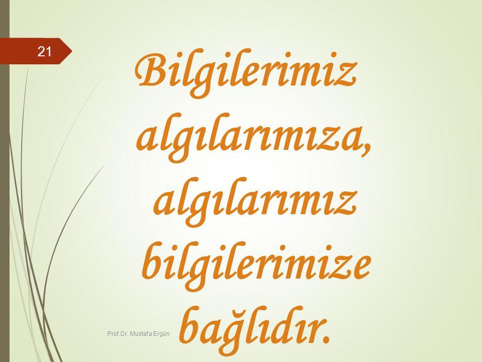 Prof.Dr. Mustafa Ergün 21 Bilgilerimiz algılarımıza, algılarımız bilgilerimize bağlıdır.