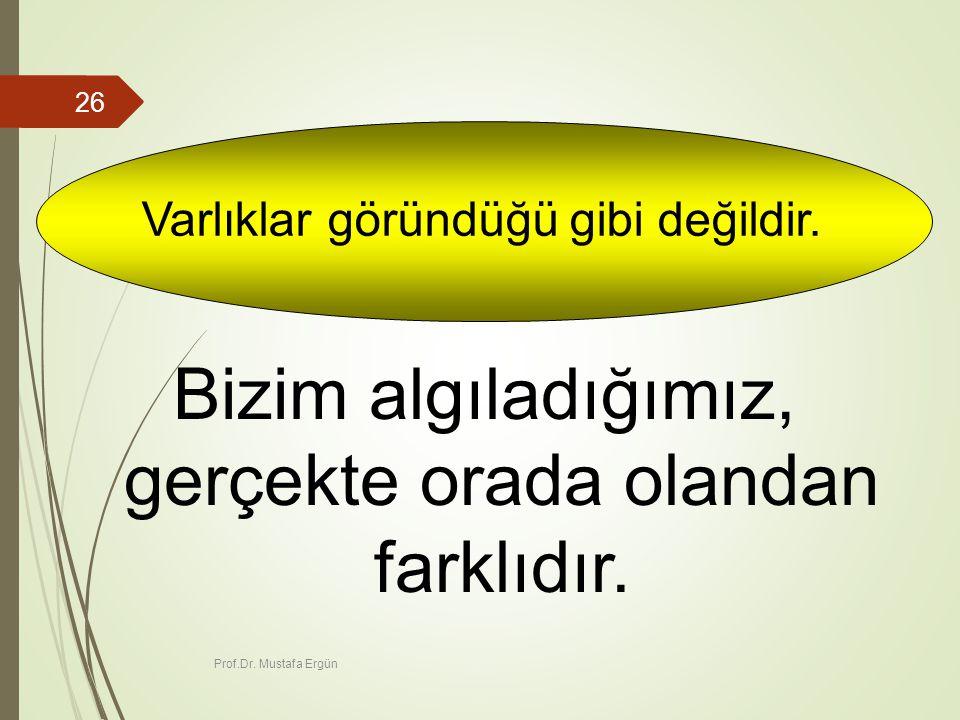Prof.Dr.Mustafa Ergün 26 Varlıklar göründüğü gibi değildir.