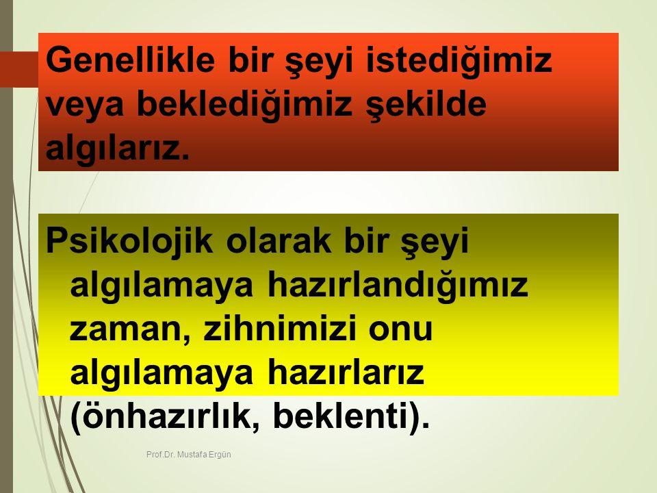 Prof.Dr.Mustafa Ergün 39 Genellikle bir şeyi istediğimiz veya beklediğimiz şekilde algılarız.