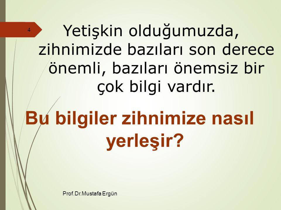 Prof.Dr.Mustafa Ergün 4 Yetişkin olduğumuzda, zihnimizde bazıları son derece önemli, bazıları önemsiz bir çok bilgi vardır.