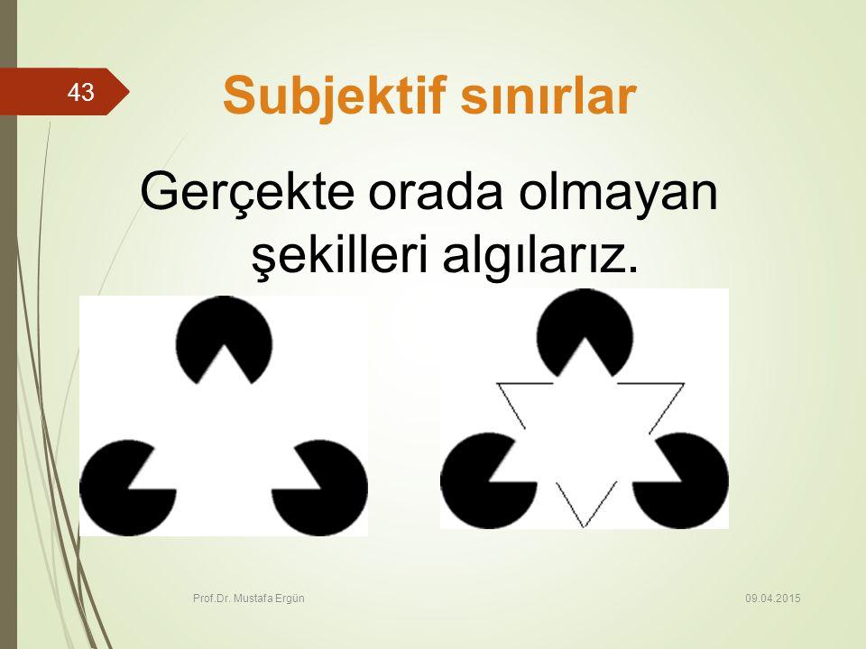 09.04.2015 Prof.Dr. Mustafa Ergün 43 Subjektif sınırlar Gerçekte orada olmayan şekilleri algılarız.
