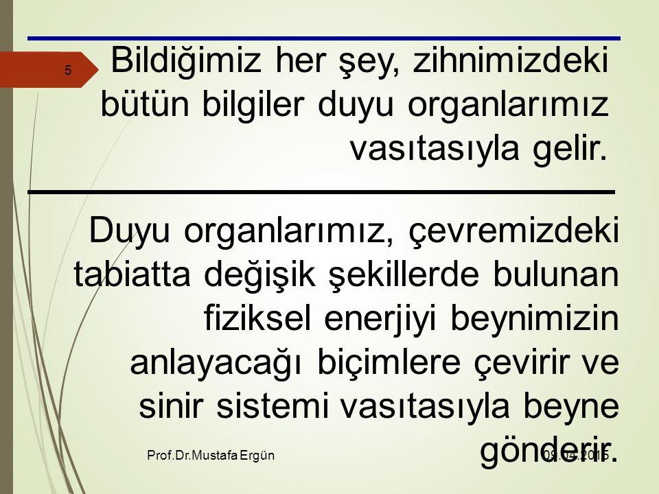09.04.2015 Prof.Dr.Mustafa Ergün 5 Bildiğimiz her şey, zihnimizdeki bütün bilgiler duyu organlarımız vasıtasıyla gelir.