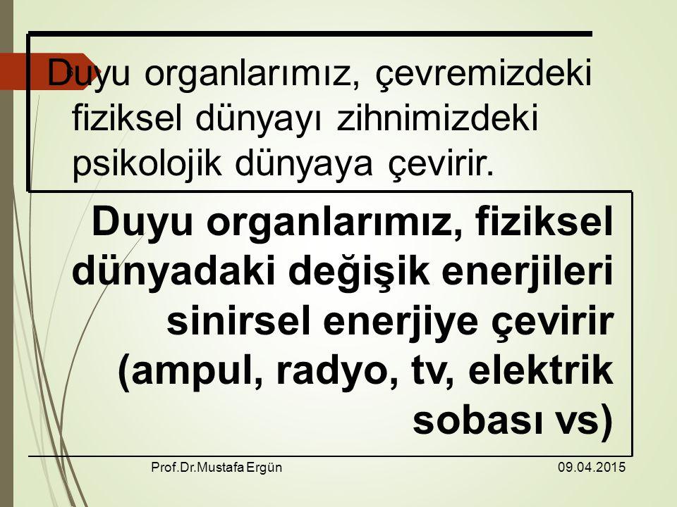 09.04.2015 Prof.Dr.Mustafa Ergün 6 Duyu organlarımız, çevremizdeki fiziksel dünyayı zihnimizdeki psikolojik dünyaya çevirir.