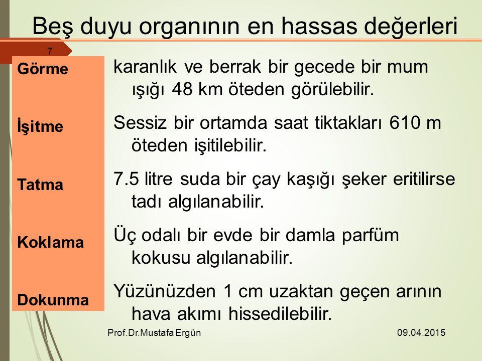 09.04.2015 Prof.Dr.Mustafa Ergün 7 Beş duyu organının en hassas değerleri Görme İşitme Tatma Koklama Dokunma karanlık ve berrak bir gecede bir mum ışığı 48 km öteden görülebilir.