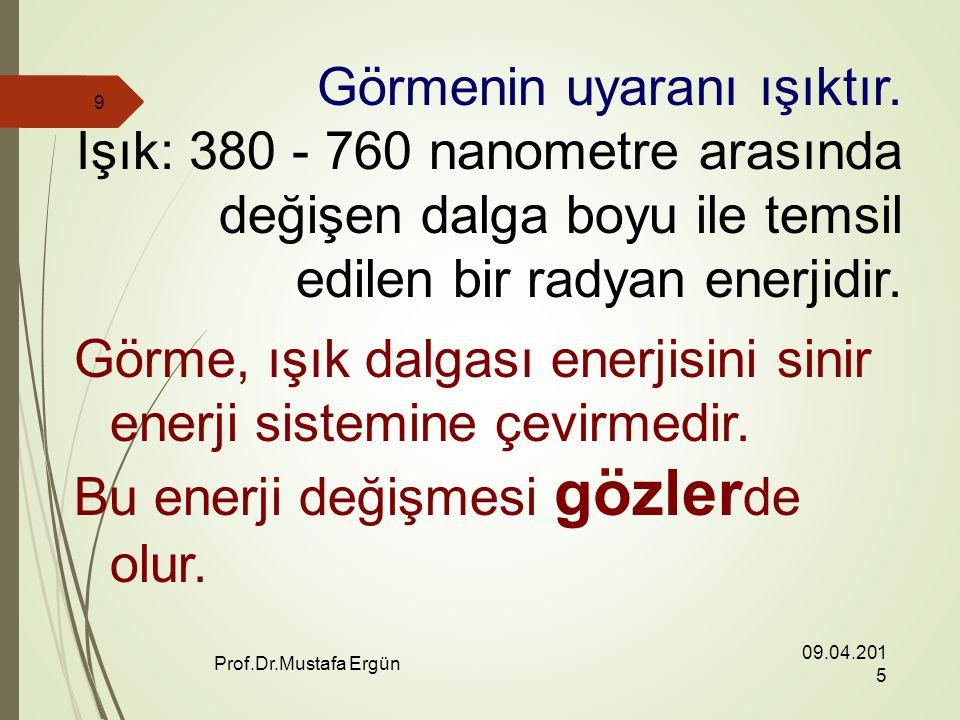 09.04.2015 Prof.Dr.Mustafa Ergün 9 Görmenin uyaranı ışıktır.
