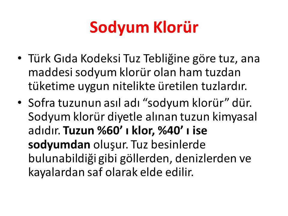 Sodyum Klorür Türk Gıda Kodeksi Tuz Tebliğine göre tuz, ana maddesi sodyum klorür olan ham tuzdan tüketime uygun nitelikte üretilen tuzlardır. Sofra t
