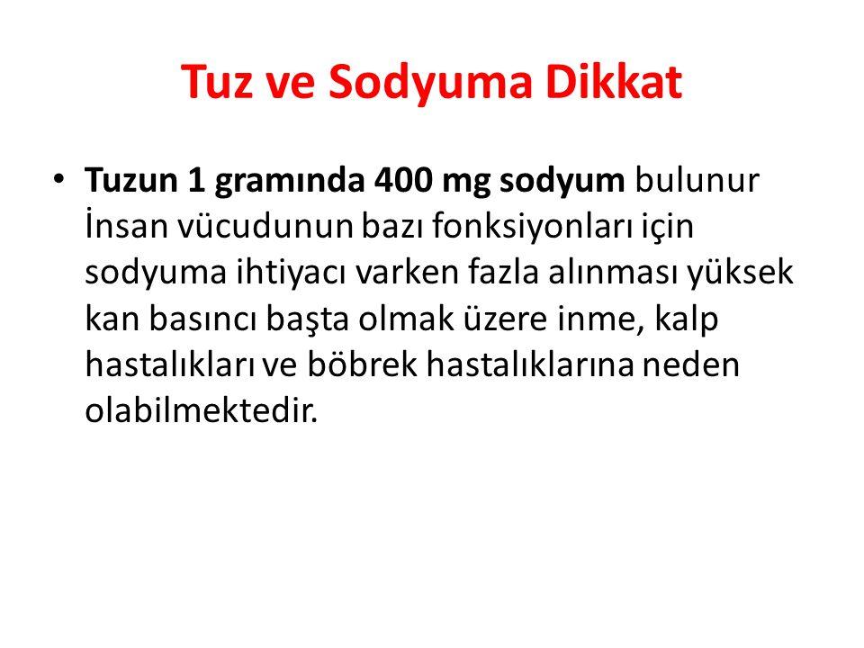 Tuz ve Sodyuma Dikkat Tuzun 1 gramında 400 mg sodyum bulunur İnsan vücudunun bazı fonksiyonları için sodyuma ihtiyacı varken fazla alınması yüksek kan
