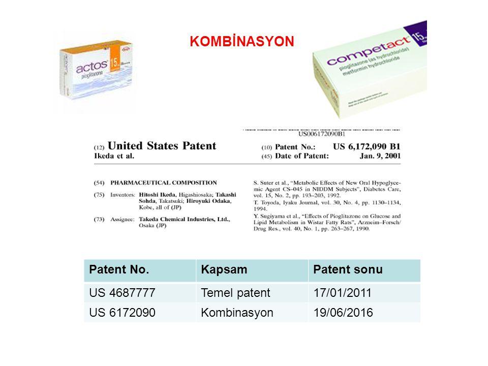 KOMBİNASYON Patent No.KapsamPatent sonu US 4687777Temel patent17/01/2011 US 6172090Kombinasyon19/06/2016