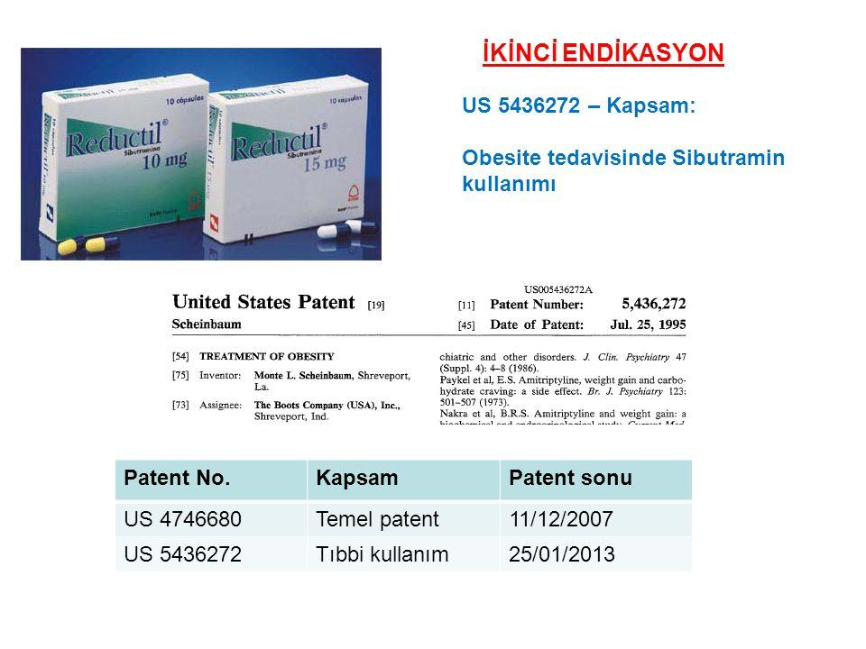 Patent No.KapsamPatent sonu US 4746680Temel patent11/12/2007 US 5436272Tıbbi kullanım25/01/2013 US 5436272 – Kapsam: Obesite tedavisinde Sibutramin ku