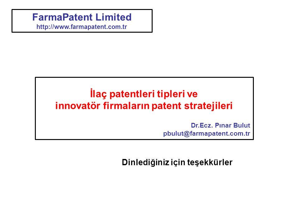 Dinlediğiniz için teşekkürler İlaç patentleri tipleri ve innovatör firmaların patent stratejileri Dr.Ecz. Pınar Bulut pbulut@farmapatent.com.tr FarmaP